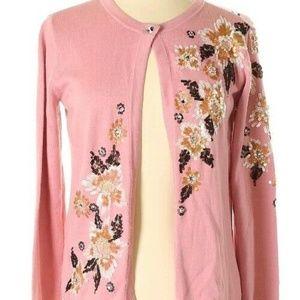 Bob Mackie Wearable Art Pink Jeweled Cardigan XXS